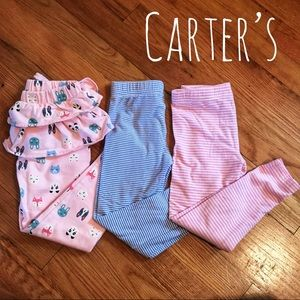 EUC Lot of 4 Carter's Leggings Stripes Ruffles 4T